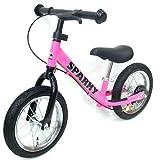 【PINK】【キックスタンド付き】 ブレーキ付ゴムタイヤ装備 ペダルなし自転車 キッズバイク SPARKY バランスバイク (PINK)