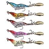 DOITPE 5個釣りルアーメタルジグルアークランクベイトキャスティングシンカースプーンスピナーベイトトラウトルアーハードメタルスピナーベイトキット (Multicolor, 22g)