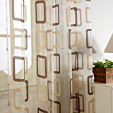 Top Finel レースカーテン UVカット 矩形柄 幅150x丈178cm 1枚入り コーヒー色 (全7サイズ2色)