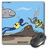 3drose LLC 8x 8x 0.25インチマウスパッド、Scuba BuddyポイントOut the Shark ( MP _ 5292_ 1)