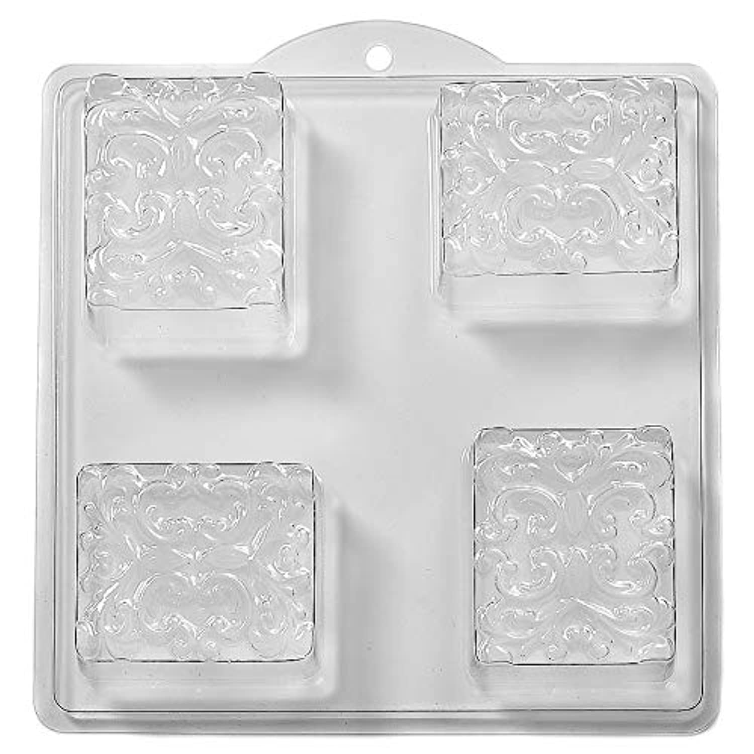 4 Cavity Floral Pattern In Square Soap/Bath Bomb Mould Mold M37 x 5