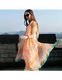 サンスクリーンショールーム夏の大きなショール桑のシルクスカーフ長い大きなスカーフ96.4 * 43.3インチ (Color : Orange)