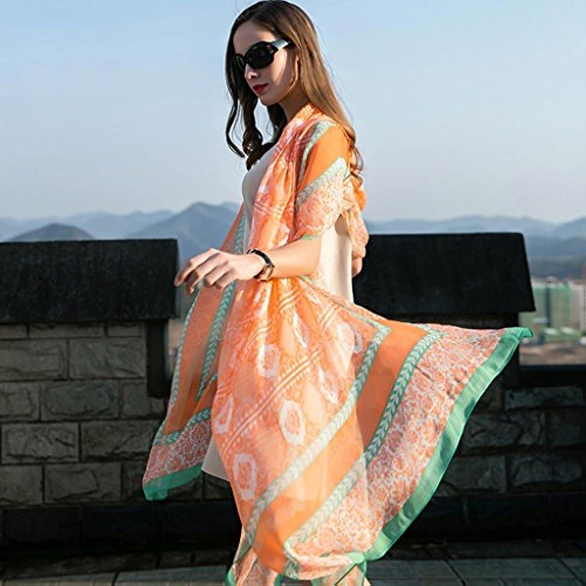 欺く乳製品合成サンスクリーンショールーム夏の大きなショール桑のシルクスカーフ長い大きなスカーフ96.4 * 43.3インチ (Color : Orange)