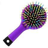 ミラー付きヘアブラシSカーブボール付きエアボリュームパドルヘアブラシ、フレキシブルクッションベース、ウェットまたはドライヘア、キッズアダルト,Purple