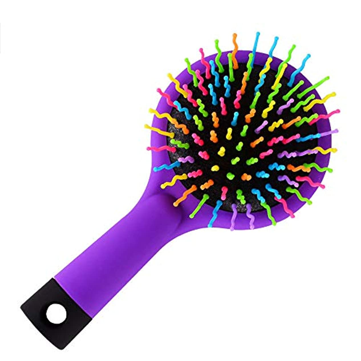 倒産測定ダッシュミラー付きヘアブラシSカーブボール付きエアボリュームパドルヘアブラシ、フレキシブルクッションベース、ウェットまたはドライヘア、キッズアダルト,Purple