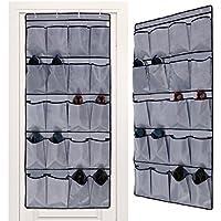 gemitto 20ポケットをドアのハンギング靴オーガナイザードア靴ラック420dオックスフォードドアシューズストレージグレー(62.21