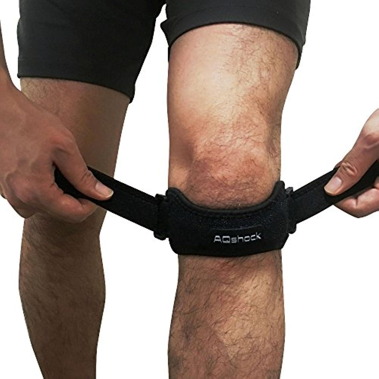 AQshock Sports 膝サポーター スポーツ用 ピンポイント 膝バンド 運動 ランニング 登山 バスケ メンズ レディース 左右兼用 ブラック