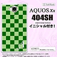 404SH スマホケース AQUOS Xx カバー アクオス ダブルエックス イニシャル スクエア 緑 nk-404sh-771ini W