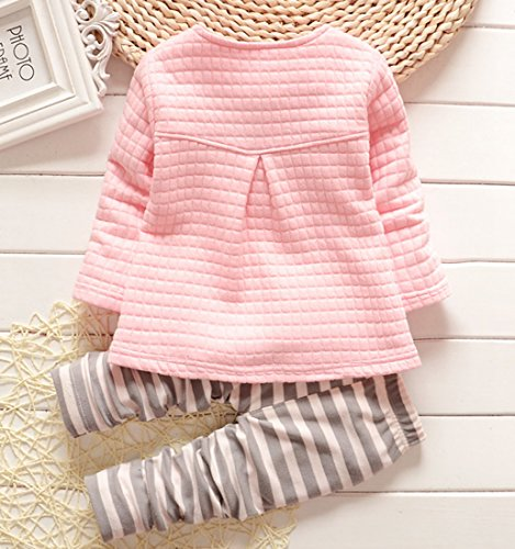 DaDa Deal Baby Girls' Toddler Kids Long Sleeve Shirt Top Pants Clothing Set Outfits (S, Pink)