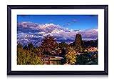 壁掛けインテリア絵画 - ワナカニュージーランド - 黒い額縁 壁掛け モダン インテリア アート 風景画 装飾 壁飾り 部屋の装飾 ポスターー - 60cmx40cm