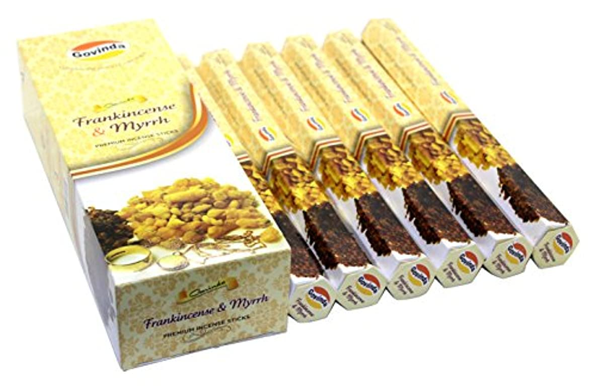 ランチ舞い上がる望むGovinda Incense – Frankincense & Myrrh – 120 Incense Sticks、MasalaコーティングIncense