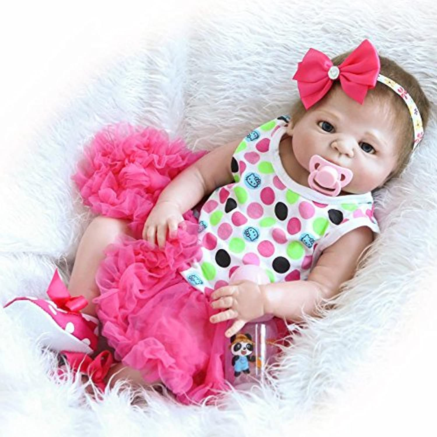 NKol Full Silicone Body Reborn Dolls Lifelike Newborn Realistic Baby Doll with Peach Tutu Skirt (Magnetic Mouth, Waterproof), 22inch 57cm Anatomically Correct Toys