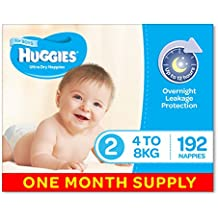 Huggies Ultra Dry Nappies, Boys, Size 2 Infant (4-8kg), 192 Count, One-Month Supply, Packaging May Vary