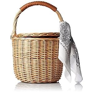 [カカトゥ] バンダナ付き柳バケツ型かごバッグ 07-00-09800 CM キャメル
