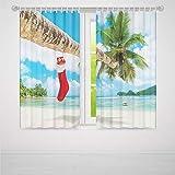 YOLIYANA 寝室用遮光カーテン クリスマスデコレーション リビングルーム 寝室 装飾 レトロな車 クリスマスツリー ヴィンテージファミリースタイル イラスト 雪のアート 103W X 72L Inches Z-02_03_030213