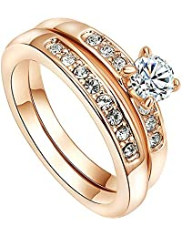 VOGEM Statement Women Ring Cubic Zirconia and Crystal 18K Rose Gold Plated Dress Jewellery