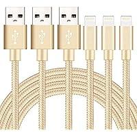 SGIN ライトニング ケーブル 【3本セット2M】Lightning ケーブル USB 高耐久編み iphone 充電ケーブル 急速充電 コンパクト端子 iPhone X,8,8 Plus,7,7 Plus,6,6s,6s Plus,6 Plus,5,5S,SE,iPad Air,Mini - 金
