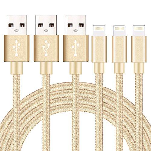GUIGUI ライトニング ケーブル 【3本セット 1M】 USB Lightning ケーブル 充電 8Pin ナイロン編み 小型ヘッド設計 急速充電 iPhone X/iPhone 8/8 Plus/iPhone 7/7 Plus/6s/6s Plus/5S/SE/iPad/iPod - 金