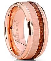 Metal Masters Co. 炭化タングステン ローズトーン メッキ 結婚指輪 本物のコアウッド 快適フィット