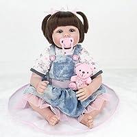シミュレーション人形リバースベイビー女子婦人デニムスカートアーリーラーニング小道具リボーンボディーシリコンビニールドール22インチフルアライブベビーリアルベビーベリー子供おもちゃの子供誕生日ギフト