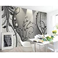 Mrlwy リビングルームの寝室の壁紙ヨーロッパのレースの黒と白の3Dの花のテレビ3Dの壁紙-350X250CMのための家の装飾大
