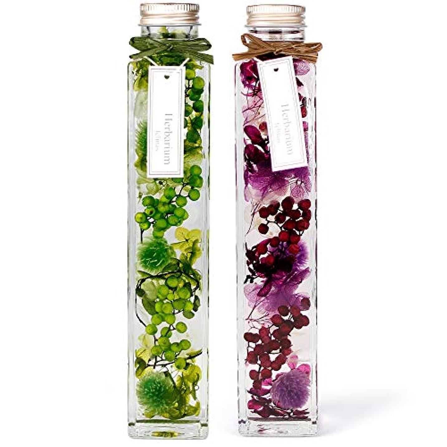 感覚基礎全滅させる[フェリナス] ハーバリウム 角瓶(2本セット) グリーン(緑)&パープル(紫) ギフト 贈り物 誕生日 記念日 敬老の日 kaku-green&purple
