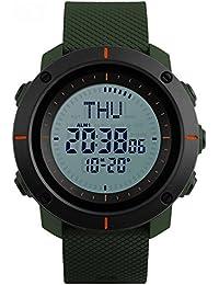 スポーツ腕時計 デジタル腕時計 コンパス機能 48都市時間 SKMEIメンズ腕時計(グリーン)