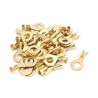 uxcell リング端子 ケーブルコネクタ 非絶縁 ワイヤケーブル 銅 ゴールドトーン 40個入り