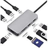 USB C Hub,8 In 1 Type C Adapter With 3 USB 3.0 Ports (5Gbps Transfer Speed), 2 USB2.0 Ports ,SD/TF Card Reader, 100W PD Charg