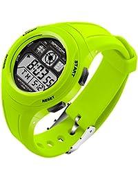 SANDA 子供 学生 PU バンド 多機能 電子時計 防水 LED スポーツ デジタル 腕時計 (グリーン)