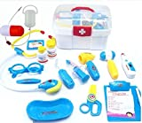 jambroom お医者さんごっこ お医者さんセット おもちゃ 16点 プラスチック 知育玩具 トイ ちびっこドクター 男女兼用 ケース付 ごっこ遊び なりきり マネ 【 社会性 言語力 想像力を高めるごっこ遊び 】 ブルー