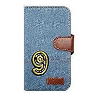 sslink Nexus 6P ネクサス ケース 手帳型 ナンバー 9 キラキラ ワッペン 背番号 数字 デコ 可愛い おしゃれ デニム(サックス) 生地 布 ファブリック カード収納 フリップ カバー スマートフォン