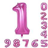 40インチのピンクの数のヘリウム風船(0-9)アラビア数字の誕生日パーティーデコレーション1