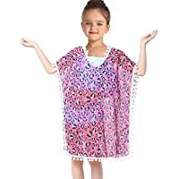 Kid Girls Chiffon Unicorn Cover-up Rainbow Beach Swimsuit Coverup Pompom Tassel