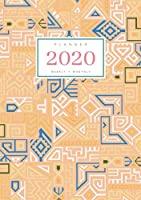 Planner 2020 Weekly Monthly: A5 Full Year Notebook Organizer Small | 12 Months - Jan to Dec 2020 | Creative Tribal Geometric Design Orange