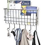 WALL35 Sicily Key and Mail Holder for Wall - Metal Coat Rack Wall Mounted Wire Basket - Entryway Organizer Dog Leash, Purse,