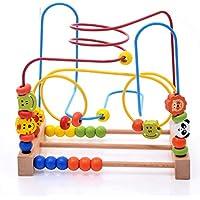 Techecho ビーズ迷路 木製おもちゃ ローラーコースター カラフルなアバカスサークルおもちゃ 子供 男の子 女の子 木製教育玩具