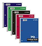 TOPS 65021 Notebook, college rule, 3-hole punched, white, wirebound, perforated, 70 SH per BK