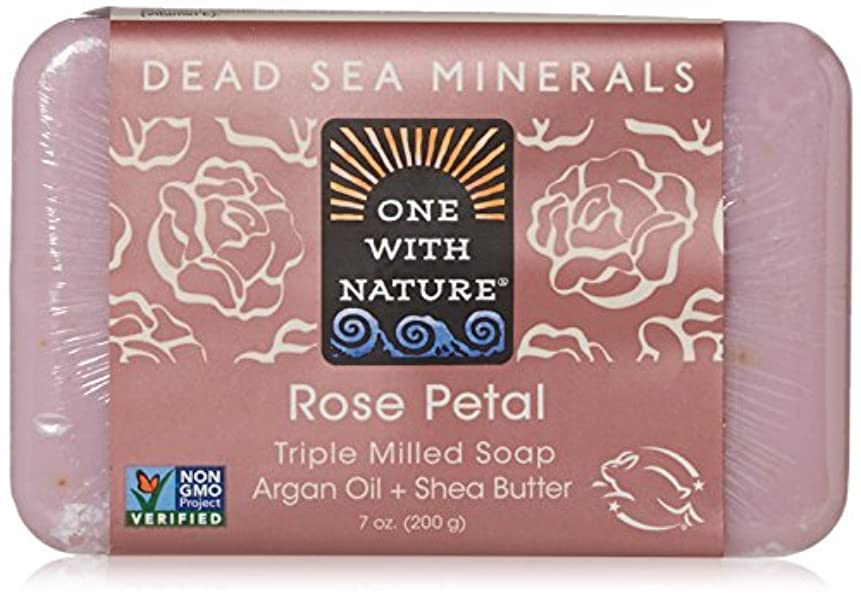 アーサーコナンドイル付録快適One With Nature - 死海ミネラル棒石鹸の穏やかな剥離のバラの花びら - 7ポンド [並行輸入品]