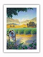 マデラ・ヴィンヤード・ワイン・トレイル - カリフォルニアワインカントリーアート によって作成された カーン・エリクソン - プレミアム290gsmジークレーアートプリント - 30.5cm x 41cm