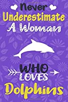 Never Underestimate a Woman Who Loves Dolphins Journal: Dolphin Lover Gift for Women, Blank Lined Notebook, Gift for Dolphin Lovers