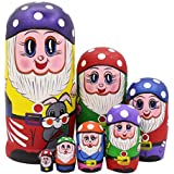 Set of 7 Purple Mushroom White Dotted Cap Traditional Russian Nesting Dolls Montessori Matryoshka Kids Stacking Toys Christmas Birthday Festival Gifts
