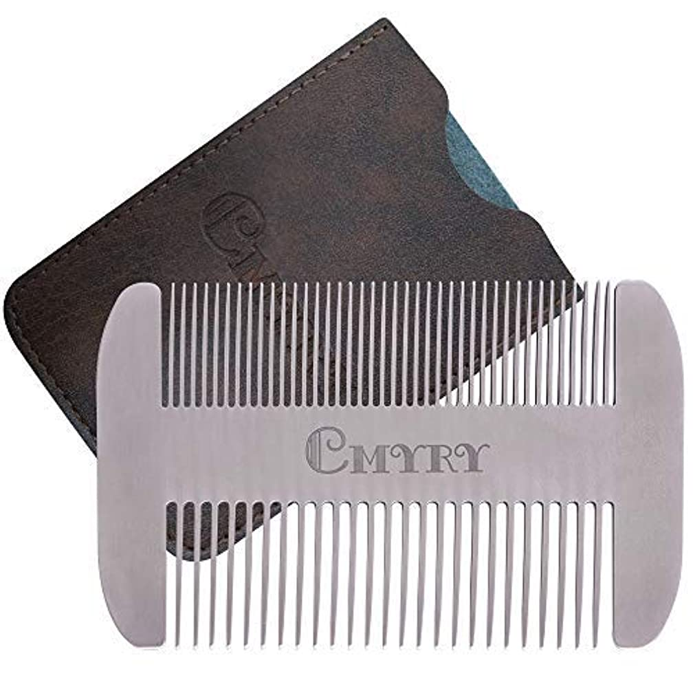 予測カップ混合したBeard Comb EDC Mustache Stainless Steel Wallet Comb Beard & Hair Pocket Mini Anti-Static Comb for Man(travel metal...