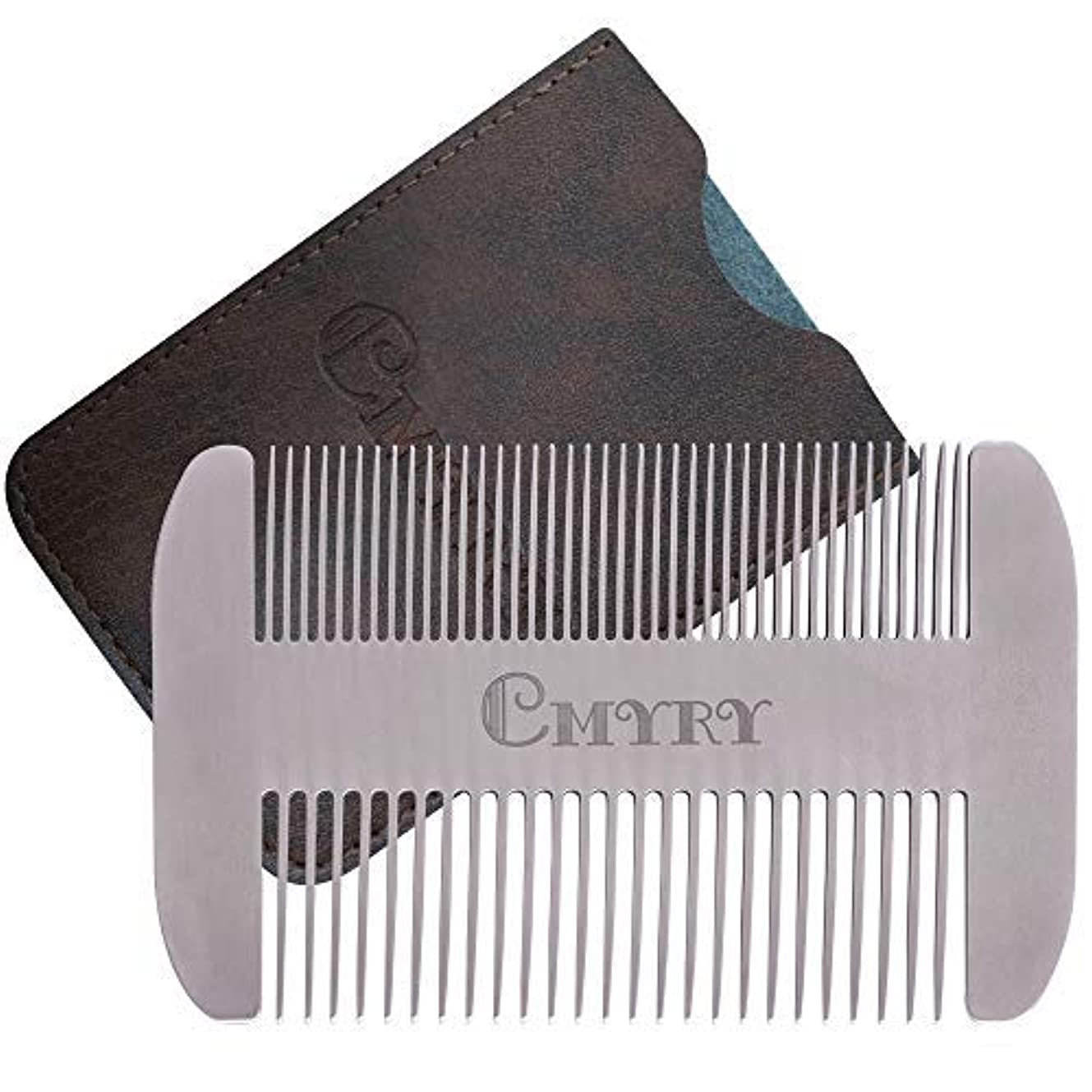 Beard Comb EDC Mustache Stainless Steel Wallet Comb Beard & Hair Pocket Mini Anti-Static Comb for Man(travel metal...
