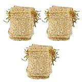 【ノーブランド品】結婚式 誕生日 プレゼント ウェディング用 オーガンジー製 ギフトバッグ 9x12cm (ゴールド) 100枚