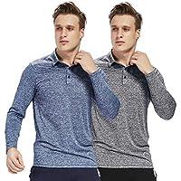 LIFINAIS Men's Long-Sleeve T Shirt dri fit Golf Polo Shirts Athletic Moisture Wicking
