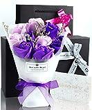 ソープフラワー 花束 プレゼント ギフト 誕生日 母の日 メッセージカード(パープル) POJIRAI G-100