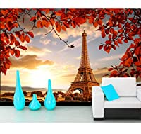 Chunxd 壁紙秋エッフェル塔パリ写真葉3D壁紙、リビングルームテレビソファ壁寝室ウォールペーパー家の装飾壁画-350X250Cm
