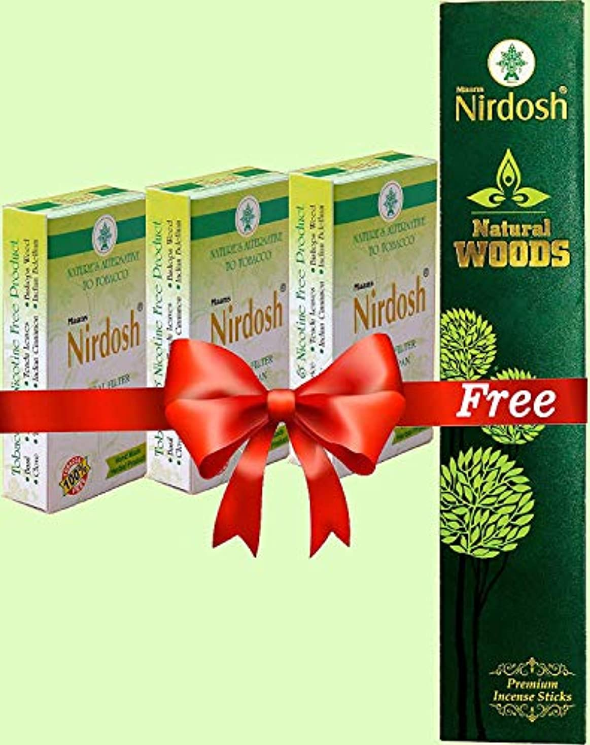 乱暴なコロニー吸収Nirdosh Herbal Dhoompan - Pack of 3x10 Sticks - Free Natural Woods Masala Incense Sticks 25g.
