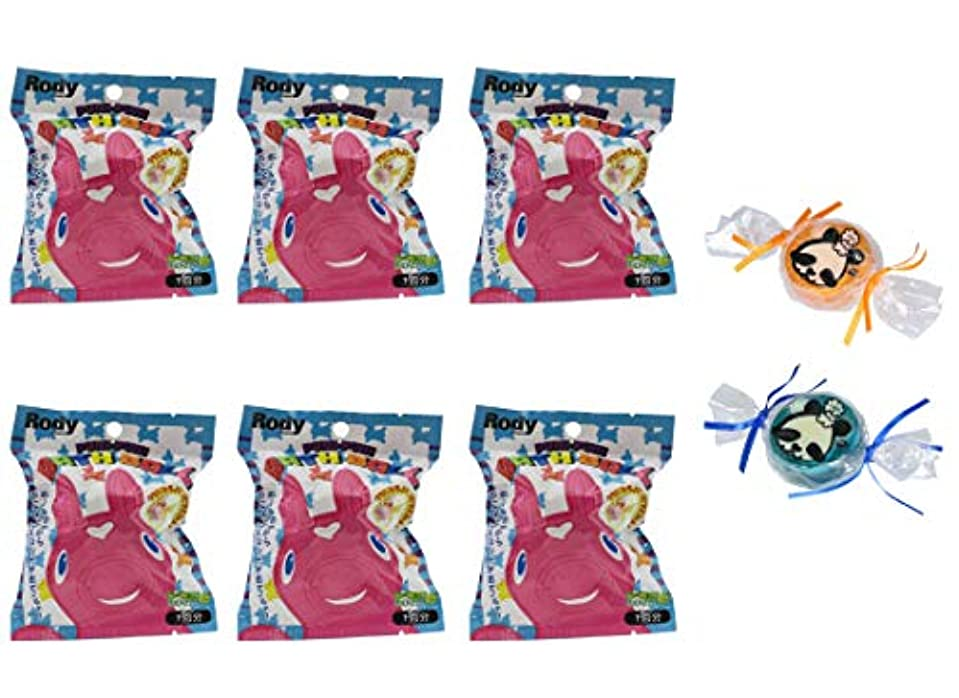 標準休暇スラック【6個セット+ミニ石けん付】サンタン ぷにぷにロディ バスボール レモンの香り 80g【パンダ石けん2個付】